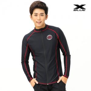 XMT-6105T-BKGY 엑스블루 남성 긴팔 집업 래쉬가드