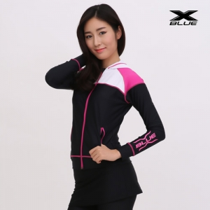 XWT-6202T-BKPK 엑스블루 여성 긴팔 후드집업 래쉬가드