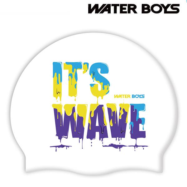 웨이브-WHT 워터보이즈 실리콘 노링클 수모 수영모 수영용품