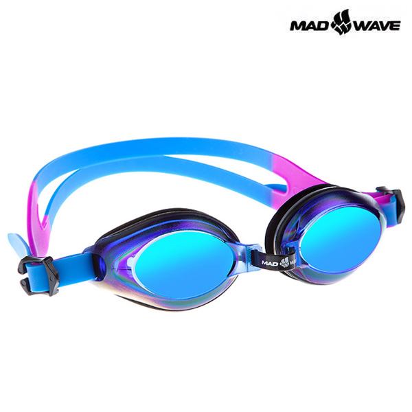 AQUA RAINBOW-BLUE 매드웨이브 MAD WAVE 패킹 미러 수경 주니어