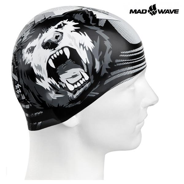 BEAR (BLACK) MAD WAVE 실리콘 수모 수영모