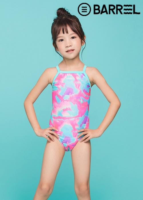 배럴 키즈 트레이닝 패턴 V백 스트랩 스윔슈트-핑크오션 원피스 수영복