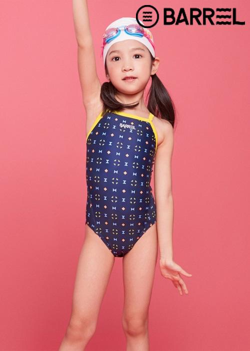 배럴 키즈 트레이닝 패턴 V백 스트랩 스윔슈트-퍼즐 원피스 수영복