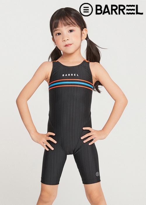 배럴 키즈 트레이닝 스트라이프 테크 스윔슈트-블랙 반전신 수영복