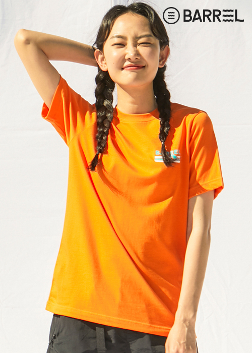 배럴 유니섹스 웨이브 라운드 셔츠-오렌지