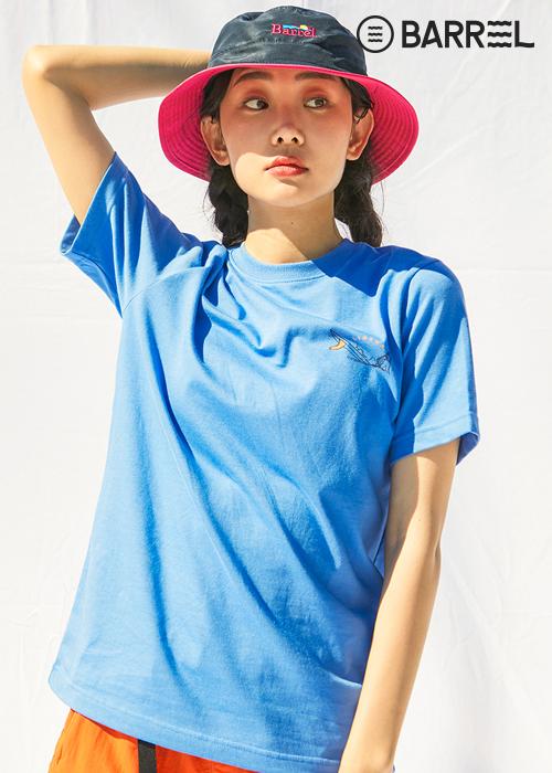 배럴 유니섹스 서핑 라운드 셔츠-네온 블루