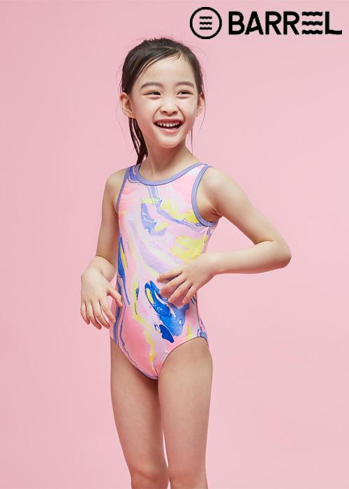 배럴 키즈 패턴 U백 스윔슈트-핑크마블