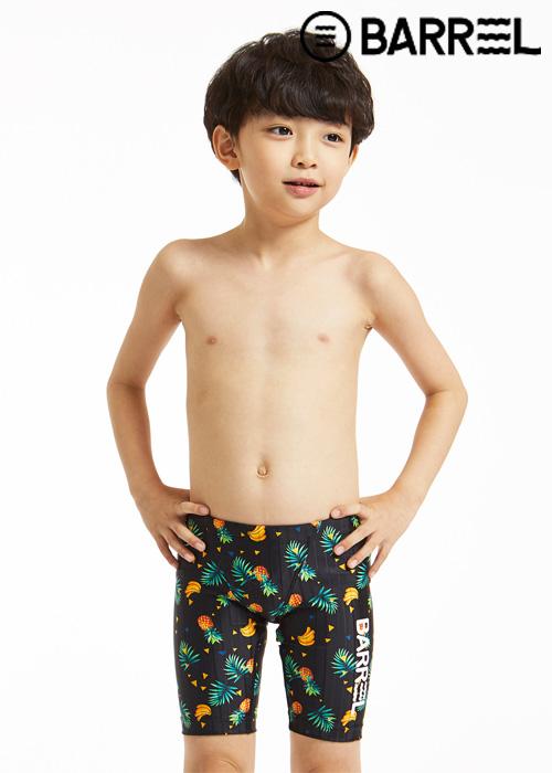 배럴 키즈 트레이닝 패턴 재머 스윔슈트-키즈 블랙 트로픽 3부 수영복