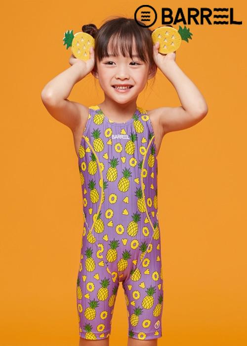 배럴 키즈 트레이닝 테크 스윔슈트-퍼플 파인 반전신 수영복