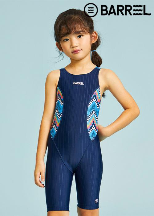 배럴 키즈 트레이닝 패턴 테크 스윔슈트-네이비/에스닉 페인트 반전신 수영복