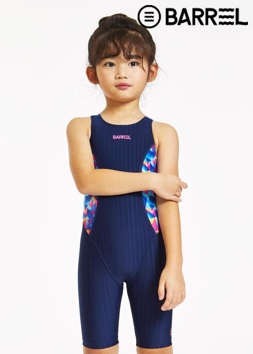 배럴 키즈 트레이닝 패턴 테크 스윔슈트-네이비/키즈 프리즘 반전신 수영복