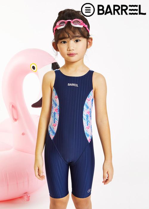 배럴 키즈 트레이닝 패턴 테크 스윔슈트-네이비/키즈 플라밍고 핑크 반전신 수영복