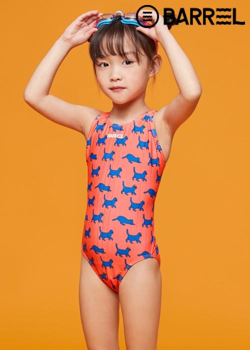 배럴 키즈 트레이닝 패턴 V 백 스윔슈트-블루 캣 원피스 수영복