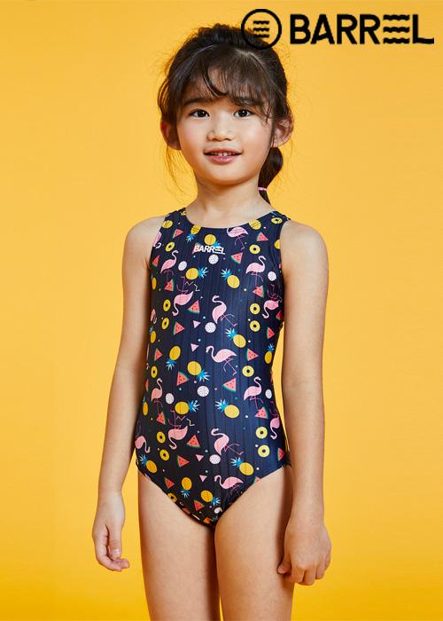 배럴 키즈 트레이닝 패턴 V 백 스윔슈트-키즈 플라밍고 원피스 수영복