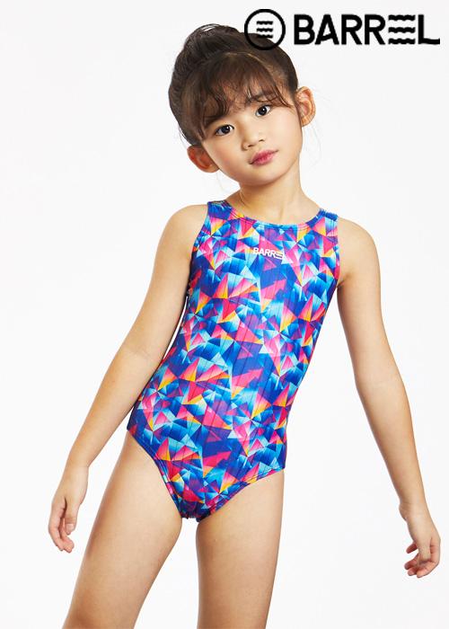 배럴 키즈 트레이닝 패턴 V 백 스윔슈트-키즈 프리즘 원피스 수영복