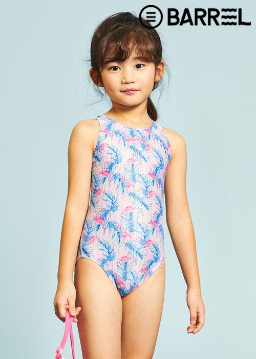 배럴 키즈 트레이닝 패턴 V 백 스윔슈트-키즈 플라밍고 핑크 원피스 수영복