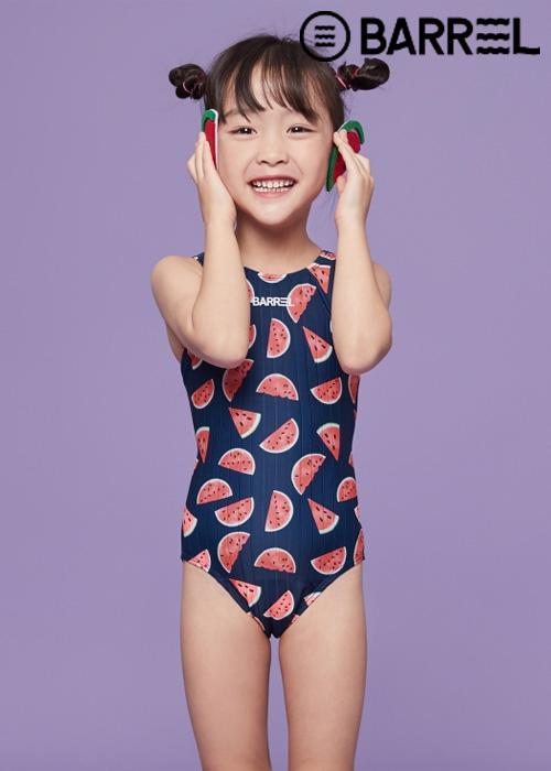 배럴 키즈 트레이닝 패턴 V 백 스윔슈트-멜로우 슈가 원피스 수영복