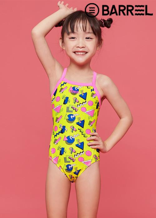 배럴 키즈 트레이닝 V 백 스트랩 스윔슈트-옐로우 크레용 원피스 수영복
