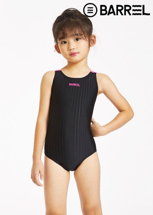 배럴 키즈 트레이닝 V 백 스윔슈트-블랙 원피스 수영복