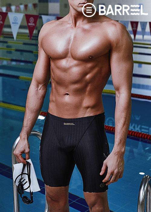 (아울렛)배럴 맨 트레이닝 패턴 재머 스윔슈트-블랙/블랙 리프 5부 수영복
