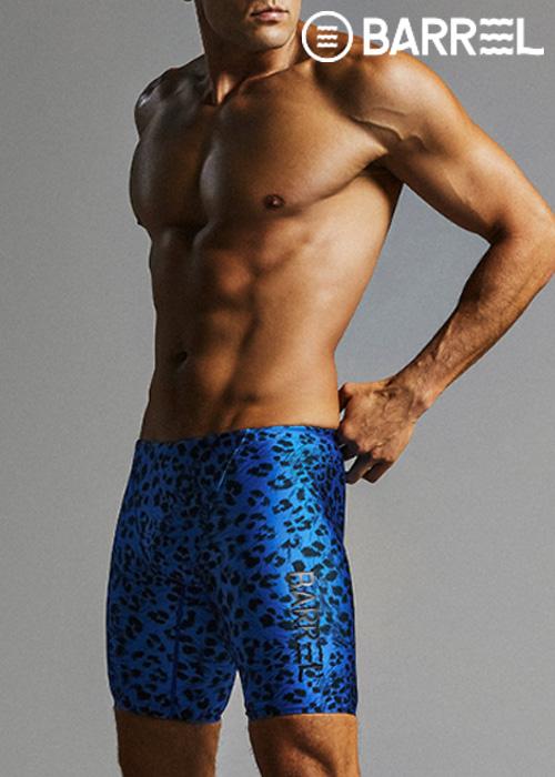 (아울렛)배럴 맨 레이싱 핏 패턴 재머 스윔슈트-블루 레오파드 5부 수영복