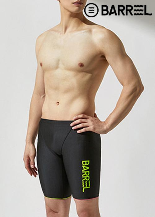 (아울렛)배럴 맨 트레이닝 핏 ODD 재머 스윔슈트-블랙/네온 옐로우/네온 핑크 5부 수영복
