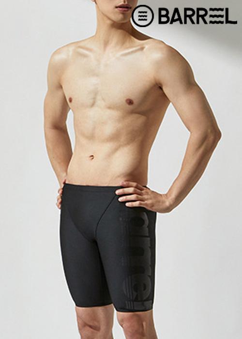 (아울렛)배럴 맨 레이싱 핏 빅 로고 재머 스윔슈트-블랙/매트 블랙 5부 수영복