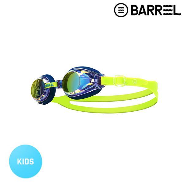 배럴 키즈 배럴 미러 스윔 고글-블루 미러/네온 옐로우 주니어 수경