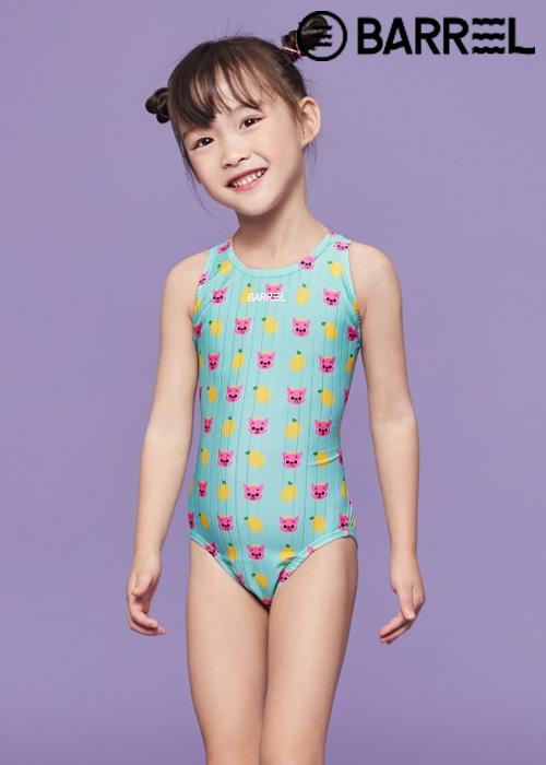 배럴 키즈 핑크퐁 트레이닝 V 백 스윔슈트-레몬 원피스 수영복