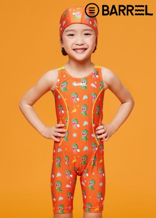 배럴 키즈 핑크퐁 트레이닝 테크 스윔슈트-오렌지 디노 반전신 수영복