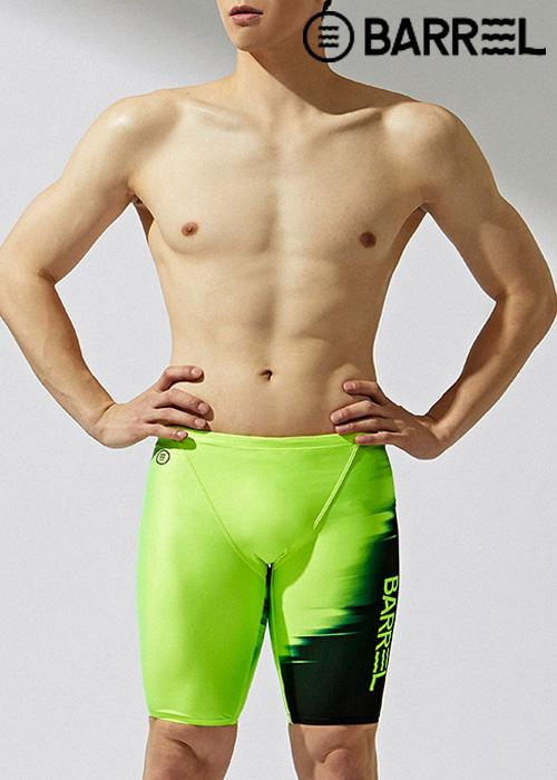 (아울렛)배럴 맨 레이싱 핏 섀도우 재머 스윔슈트-네온 옐로우 5부 수영복