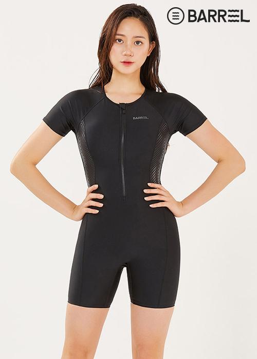 배럴 우먼 아쿠아 핏 슬리브 스윔슈트-블랙 반전신 수영복