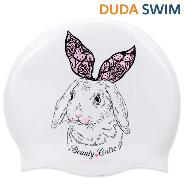 두다수모-리본토끼 핑크 화이트 노링클 수모 수영모