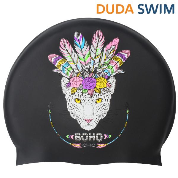 두다수모-아즈텍 표범 블랙 실리콘 수모 수영모