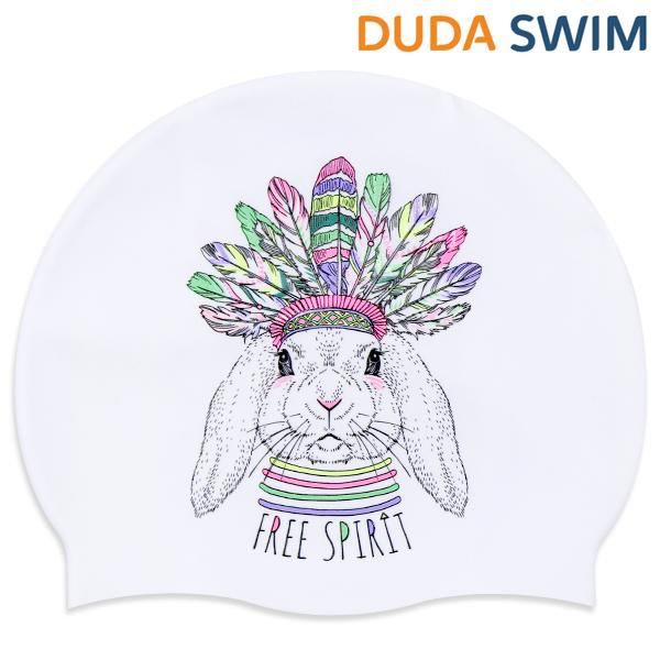 두다수모-아즈텍 토끼 화이트 실리콘 수모 수영모