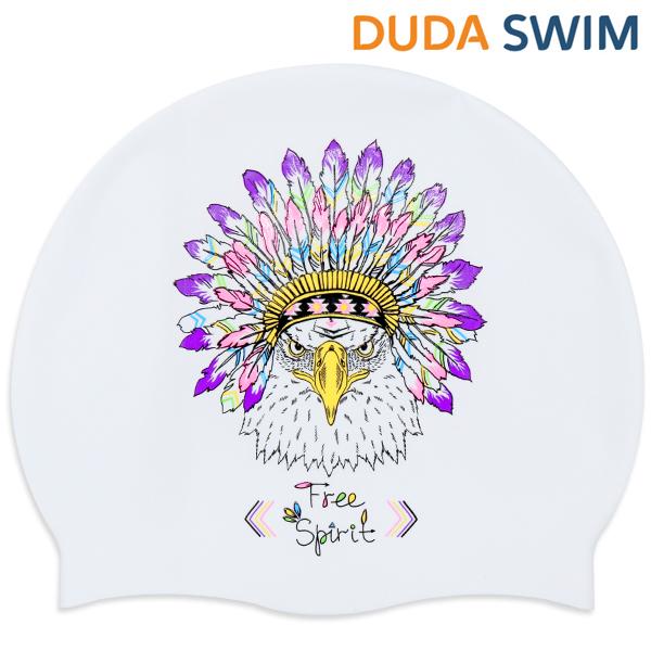 두다수모-아즈텍 독수리 화이트 실리콘 수모 수영모