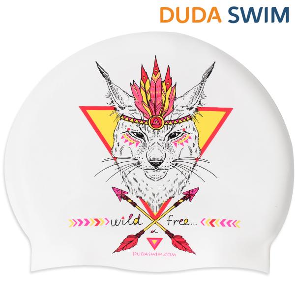 두다수모-아즈텍 여우 화이트 실리콘 수모 수영모