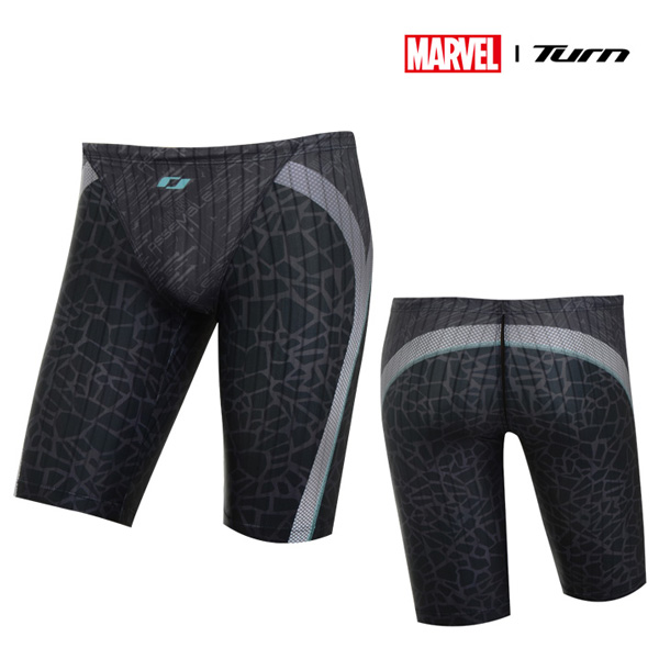 디즈니-턴 DKACF22 (BLK)남성 선수용 4부 사각 수영복