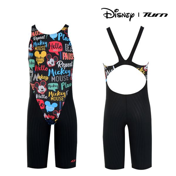 디즈니-턴 DKACG25 (BLK)여아동 선수용 반전신 수영복