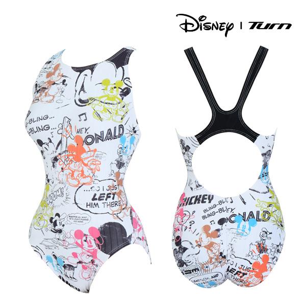 디즈니-턴 DKALO22 (WHT) 여성 일반 원피스 수영복