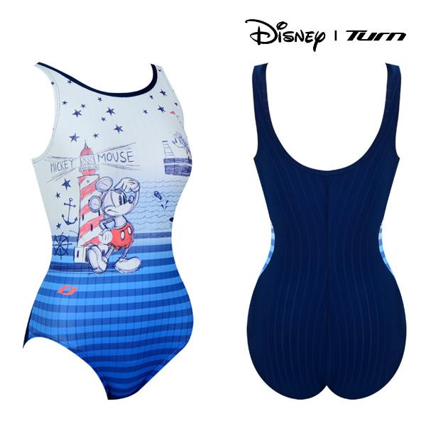 디즈니-턴 DKALO43 (BLU) 여성 일반 원피스 수영복