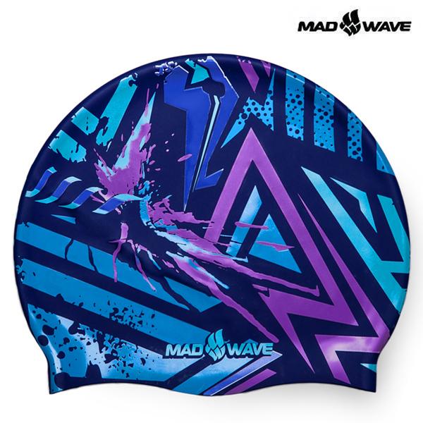 GRAFIC-BLUE 매드웨이브 MAD WAVE 실리콘 수모 수영모