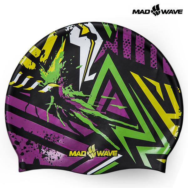 GRAFIC-YELLOW 매드웨이브 MAD WAVE 실리콘 수모 수영모