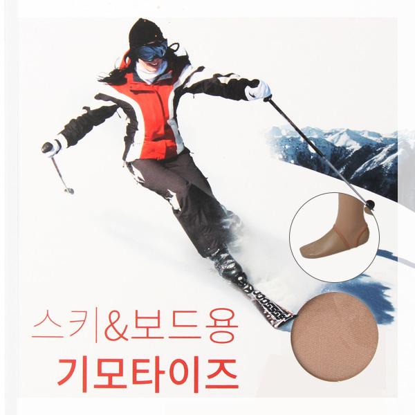 스키 스노우보드 기모타이즈 여성 기모레깅스 겨울 발열 기모스타킹-살색