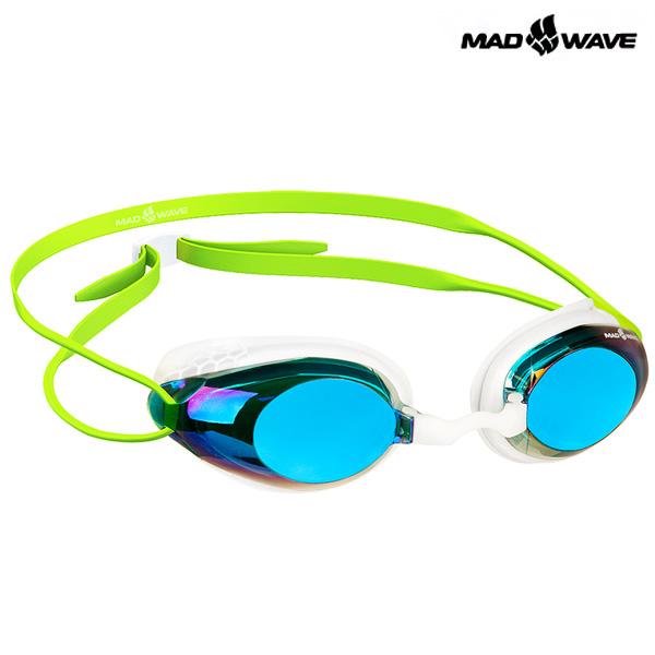 HONEY Rainbow (GREEN) MAD WAVE 선수용 패킹 미러 수경
