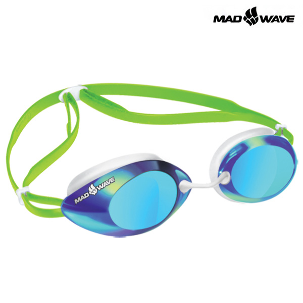 LANE4 Rainbow (GREEN) MAD WAVE 선수용 패킹 미러 수경