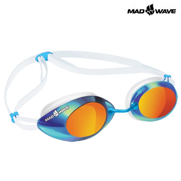 LANE4 Rainbow (WHITE) MAD WAVE 선수용 패킹 미러 수경