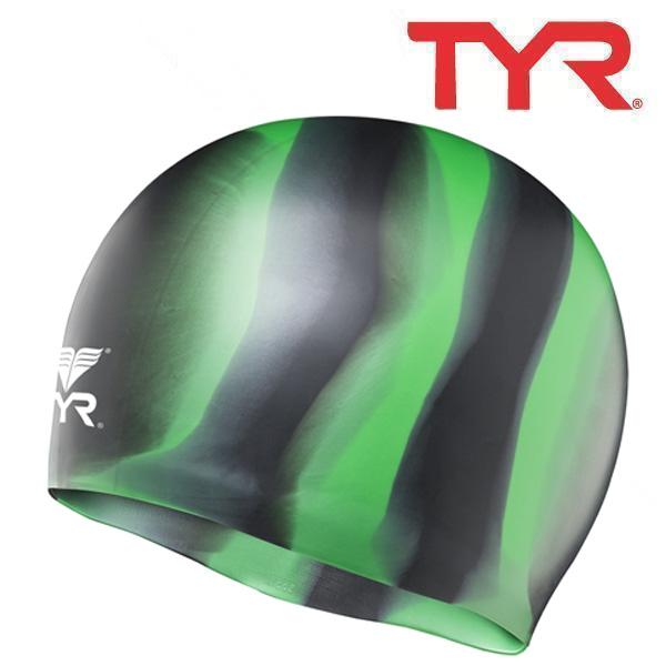 LCSM BLACK-GREEN 티어 TYR 실리콘 수모 수영모