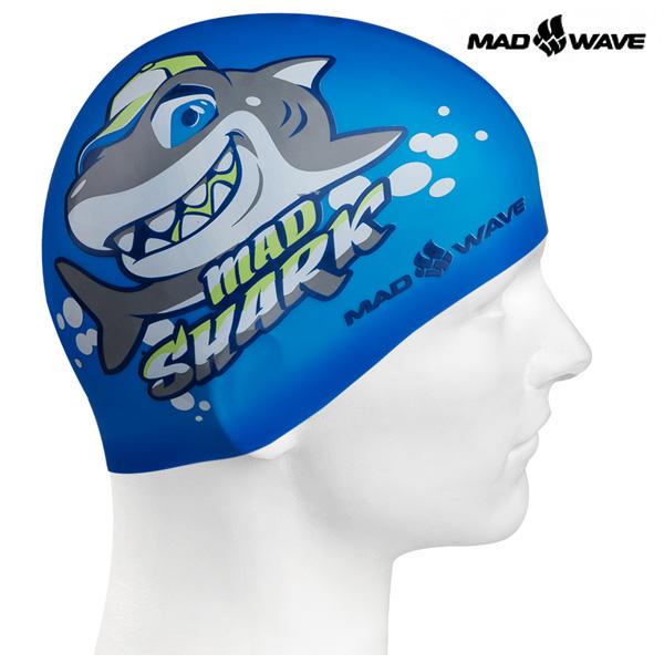 MAD SHARK (BLUE) MAD WAVE 실리콘 수모 주니어