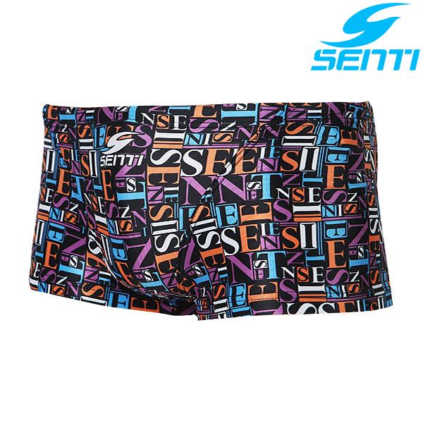 센티 MSP-4406-BLACK 타이포그래픽 남성 선수용 숏사각 수영복